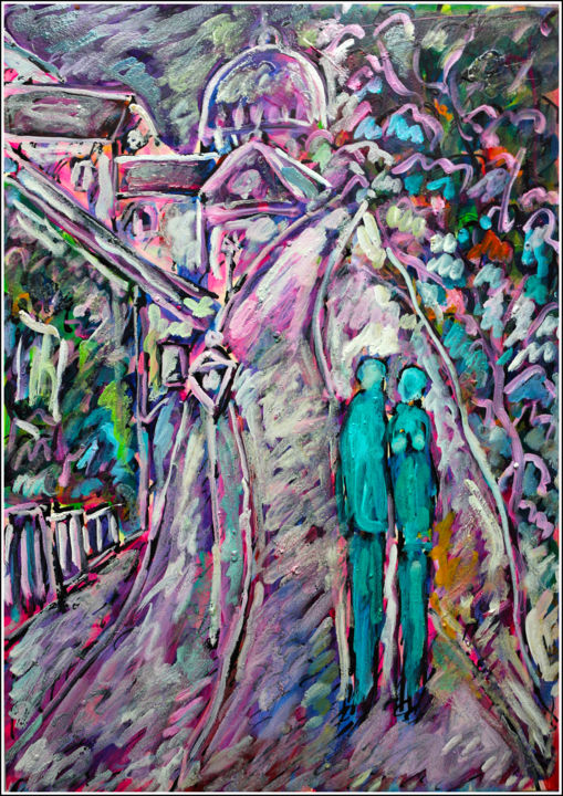 TURQUOISE LOVE - Painting,  16.5x11.8x0.4 in, ©2020 by Jean Mirre -                                                                                                                                                                                                                                                                                                                                                              Expressionism, expressionism-591, Cityscape, People, Paris, love, amour