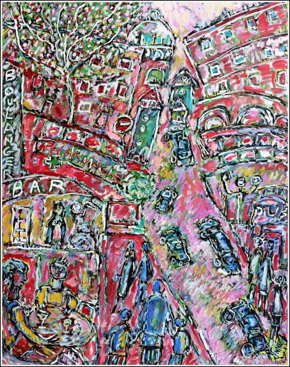 HAPPY DAYS - Painting,  25.6x19.7x0.4 in, ©2020 by Jean Mirre -                                                                                                                                                                                                                                                                                                                  Expressionism, expressionism-591, Cityscape, People, Paris, Montmartre