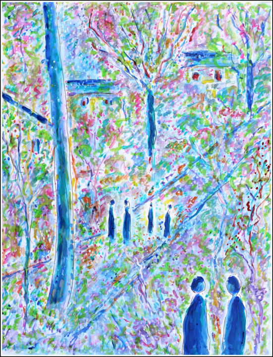 Blue Morning - Painting,  25.6x19.7x0.4 in, ©2020 by Jean Mirre -                                                                                                                                                                                                                                                                                                                                                                                                          Expressionism, expressionism-591, Love / Romance, Landscape, People, printemps, nature, fleurs