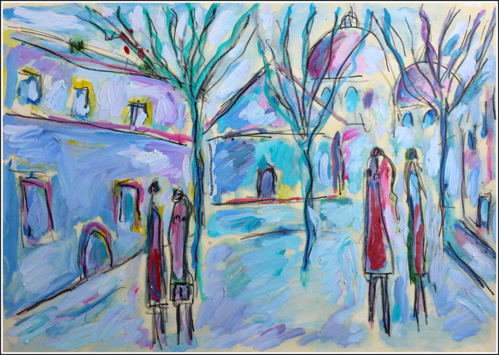 Chanson d'automne - Painting,  8.3x11.8x0.4 in, ©2020 by Jean Mirre -                                                                                                                                                                                                                                                                      Expressionism, expressionism-591, Cityscape, People, Paris