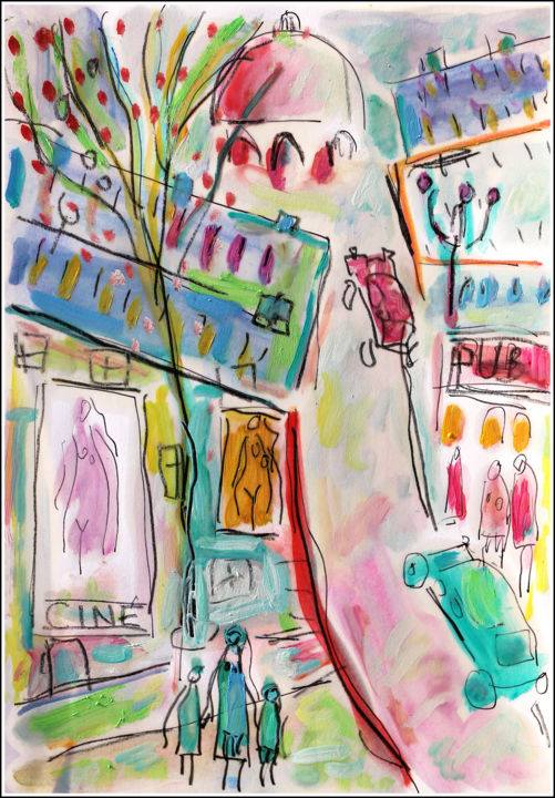 Ciné - Painting,  11.8x8.3x0.4 in, ©2020 by Jean Mirre -                                                                                                                                                                                                                                                                      Expressionism, expressionism-591, Cityscape, People, Paris