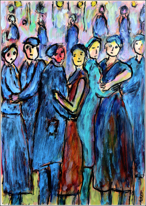 Nos ancêtres ouvriers - Painting,  11.8x8.3x0.4 in, ©2020 by Jean Mirre -                                                                                                                                                                                                                                                                      Expressionism, expressionism-591, People, bal, ouvriers