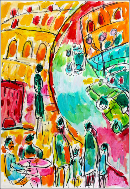 LIMOGES - Painting,  11.8x8.3x0.4 in, ©2020 by Jean Mirre -                                                                                                                                                                                                                                                                      Expressionism, expressionism-591, Cityscape, People, Limoges