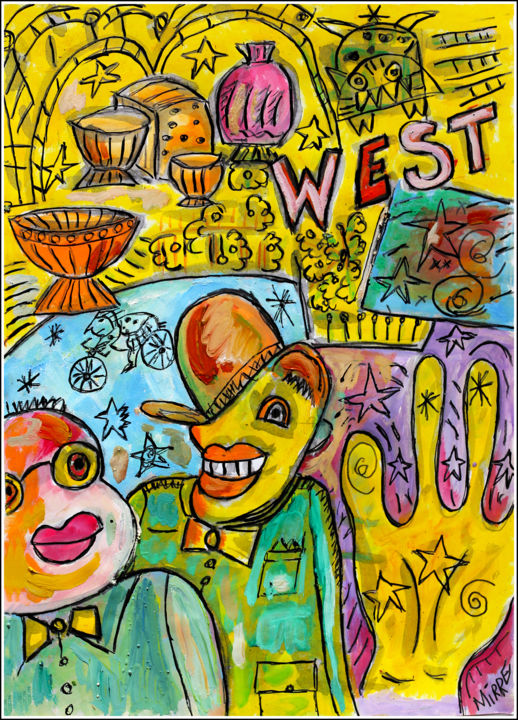 WEST - Painting,  11.8x8.3x0.4 in, ©2020 by Jean Mirre -                                                                                                                                                                                                                          Expressionism, expressionism-591, Colors, clowns