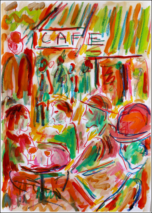 Café de Paris - Painting,  11.8x8.3x0.4 in, ©2020 by Jean Mirre -                                                                                                                                                                                                                                                                                                                  Expressionism, expressionism-591, Cityscape, People, Paris, café