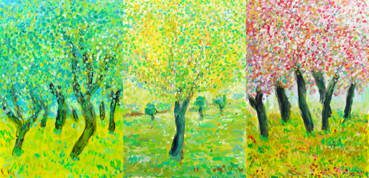 TRIPTYQUE ARBRES ET LUMIERE - Painting,  11.8x24.8x0.4 in, ©2020 by Jean Mirre -                                                                                                                                                                                                                                                                                                                  Expressionism, expressionism-591, Tree, Landscape, arbres, lumière