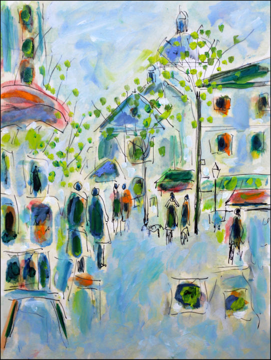 Douceur1 - Painting,  11.8x8.3x0.4 in, ©2020 by Jean Mirre -                                                                                                                                                                                                                          Expressionism, expressionism-591, Cityscape, Paris
