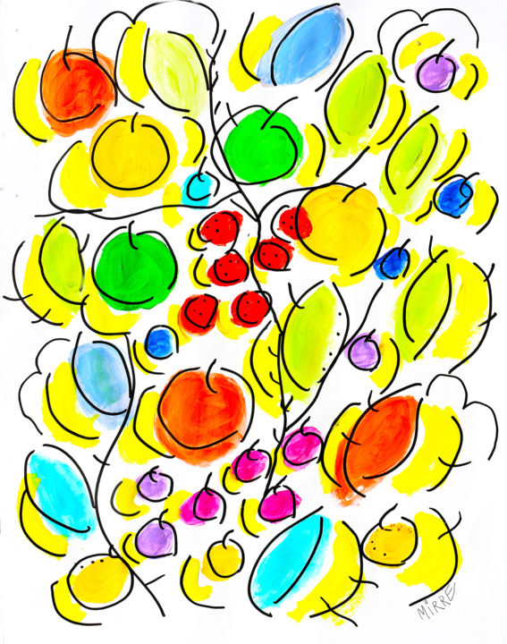 FRUITS,FEUILLES,BRANCHES - Peinture,  25,6x19,7x0,4 in, ©2017 par Jean Mirre -                                                                                                                                                                                                                                                                                                                                                                                                                                                                                                  Abstract, abstract-570, Arbre, Art abstrait, Botanique, Couleurs, Lumière, fruits, feuilles, branches