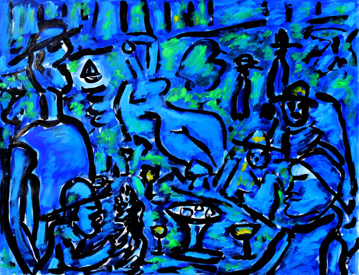 PARTY - Painting,  19.7x25.6x0.4 in, ©2017 by Jean Mirre -                                                                                                                                                                                                                                                                                                                                                                                                                                                                                                  Conceptual Art, conceptual-art-579, Love / Romance, Sailboat, Body, Colors, Pop Culture / celebrity, Renoir, déjeuner, Party