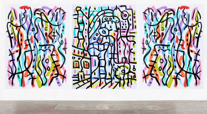 SOFT CITY TRIPTYCH - Painting, ©2017 by Jean Mirre -