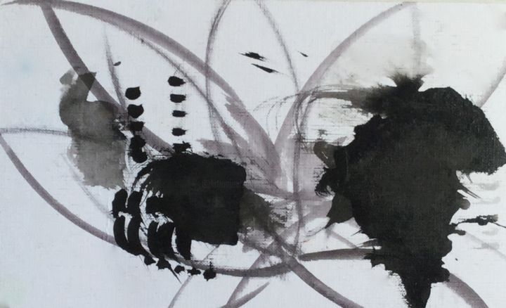 JE ME SOUVIENS……. - Painting ©2017 by Jeannette ALLARY -                                                                                                                                                Abstract Art, Abstract Expressionism, Paper, Abstract Art, Calligraphy, World Culture, Geometric, Black and White, Seasons, Time, automne, feuilles, noir, blanc, saisons, poésie, Barbara, nature, fantaisies, expressionnisme abstrait, abstrait, Jeannette Allary