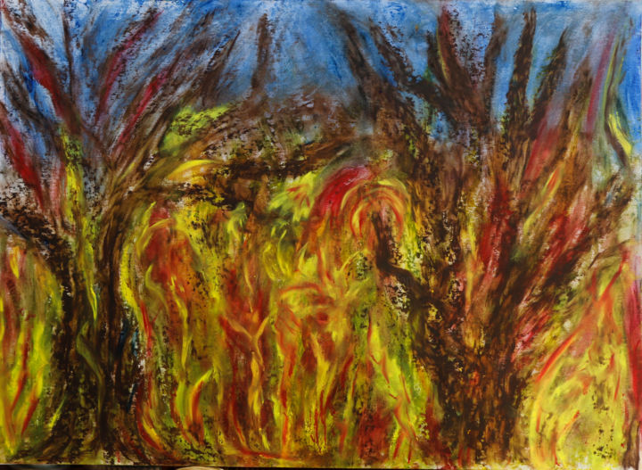 DEFORESTATION - Painting,  60x80 cm ©2018 by Jeannette ALLARY -                                                                                                                                                                                                            Figurative Art, Other, Paper, Tree, Outer Space, Colors, Culture, World Culture, Men, Rural life, Places, Light, Nature, Landscape, Politics, Forêt, deforestation, incendies, Amazonie, Brésil, écologie, nature, politique, peuples, bois, arbres, feux, gallery, galerie, Akoun, Jeannette Allary
