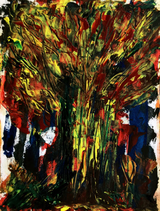 HAUT LES COULEURS - Painting,  15.8x11.8 in, ©2018 by Jeannette Allary -                                                                                                                                                                                                                                                                                                                                                                                                                                                                                                                                                                                                                                                                                                                                                                                                                                                                      Figurative, figurative-594, Other, Paper, Tree, Colors, World Culture, Rural life, Nature, Arbres, forêt, écologie, nature, couleurs, Akoun, galerie, gallery, Jeannette Allary
