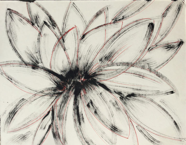 EVEIL......REVEIL  ! - Painting,  40x60 cm ©2019 by Jeannette ALLARY -                                                                                                                                                                        Environmental Art, Abstract Art, Abstract Expressionism, Other, Paper, Abstract Art, World Culture, Flower, Rural life, Nature, Black and White, Seasons, Fleur, épanouissement, encre de Chine, noir, pétales, nature, Akoun, gallery, galerie, Jeannette Allary, calame, calligraphie