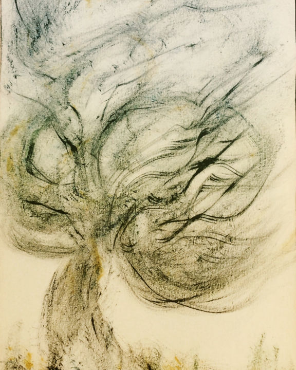 THE ANSWER IS BLOWING IN THE WIND - Painting,  40x30 cm ©2019 by Jeannette ALLARY -                                                                                Figurative Art, Tree, Botanic, Music, Nature, arbre, poésie, vent, @artmajeur, Akoun, gallery, galerie, huile, figuratif, Jeannette Allary, encre de Chine, Bob Dylan, wind