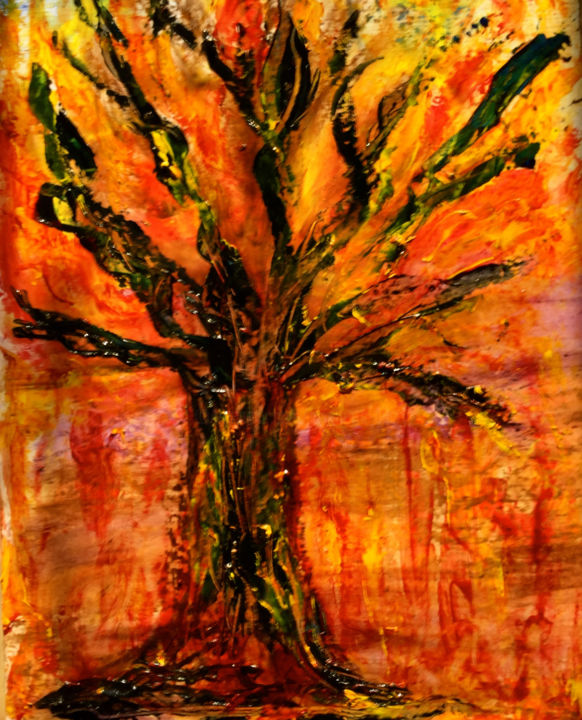 AMAZONIA - Painting,  31.5x23.6 in ©2019 by Jeannette ALLARY -                                                                                                        Figurative Art, Abstract Expressionism, Tree, Colors, World Culture, Men, Politics, Amazonie, Amazonia, arbres, incendie, déforestation, politique, @artmajeur, planéte, terre, G7, Gallery, artforyou, Akoun, cultures, écologie, debetum, Jeannette Allary