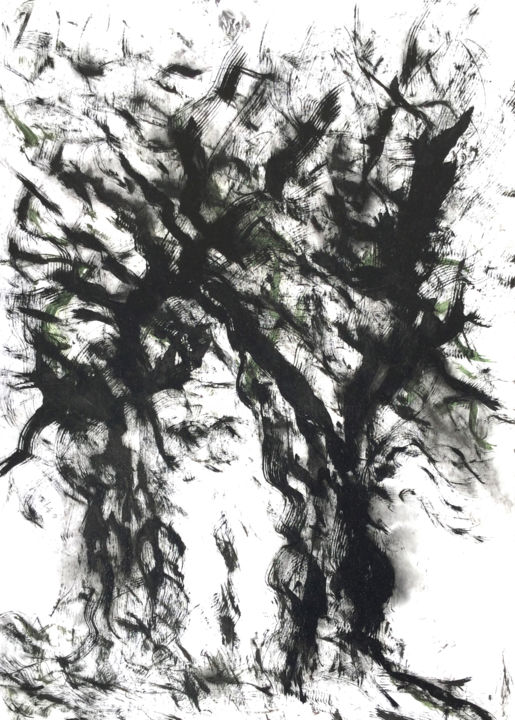 DEUX  ARBRES......DIALOGUE - Painting,  31.5x23.6 in, ©2020 by Jeannette Allary -                                                                                                                                                                                                                                                                                                                                                                                                                                                                                                                                                                                                                                                                                                                                                                                                                                                                                                                                                                                                      Figurative, figurative-594, Tree, World Culture, Nature, Black and White, Spirituality, arbres, dialogue, symbolisme, spiritualité, encre de Chine, @artmajeur, noir et blanc, ,  akoun, écologie, poésie, Deux, A.Camus, Jeannette Allary