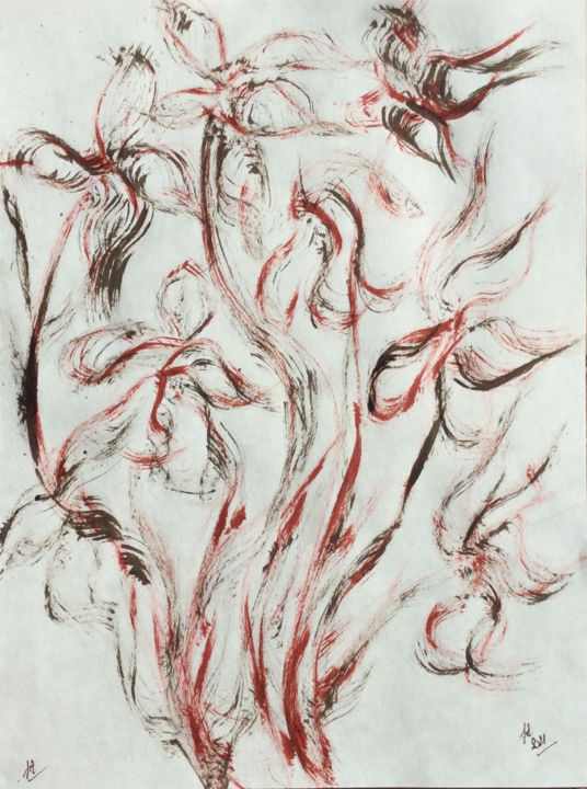 Flower Drawing, oil, calligraphy, artwork by Jeannette Allary