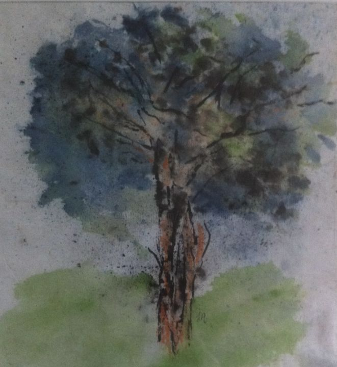 ESSAI ARBRE ( papier chinois ) - Painting,  50x40 cm ©2014 by Jeannette ALLARY -                                                            Abstract Art, Paper, Tree, Arbre papier chinois