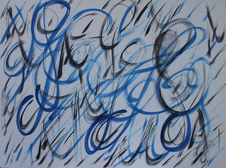 LIBERTE du PINCEAU - Painting,  27.6x31.5 in, ©2014 by Jeannette ALLARY -                                                                                                                                                                                                                                                                                                                                                                                                                                                                                                  Abstract, abstract-570, Abstract Art, Calligraphy, Colors, Graffiti, Abstrait, traits, calligraphie, bleu Jeannette Allary