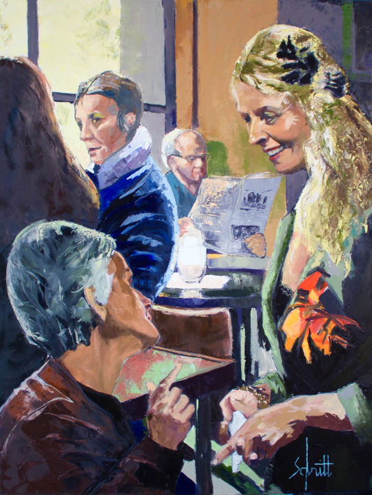 CAFÉ XV (Le Hibou à Paris) - Painting,  116x89 cm ©2019 by Jean-Paul Schmitt -                                        Figurative Art, Canvas