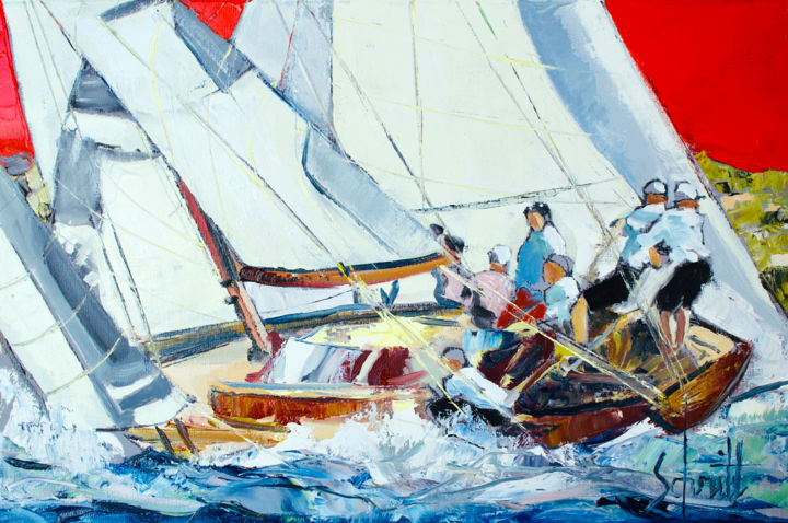RÉGATES 2 - Painting,  27x41 cm ©2018 by Jean-Paul Schmitt -                                                        Figurative Art, Canvas, Sailboat