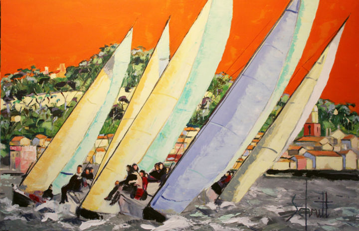 RÉGATES 3 - Painting,  60x92 cm ©2018 by Jean-Paul Schmitt -                                                        Figurative Art, Canvas, Sailboat