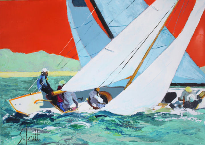 RÉGATES 8 - Painting,  18.1x25.6 in, ©2019 by Jean-Paul Schmitt -                                                                                                                                                                          Figurative, figurative-594, Sailboat