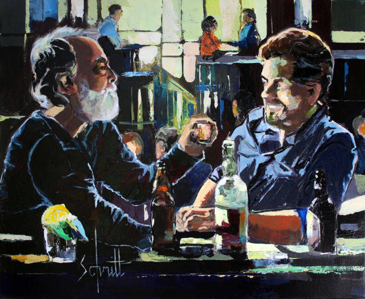 CAFÉ XXI (Accoudés au bar) - Painting,  19.7x24 in, ©2019 by Jean-Paul Schmitt -