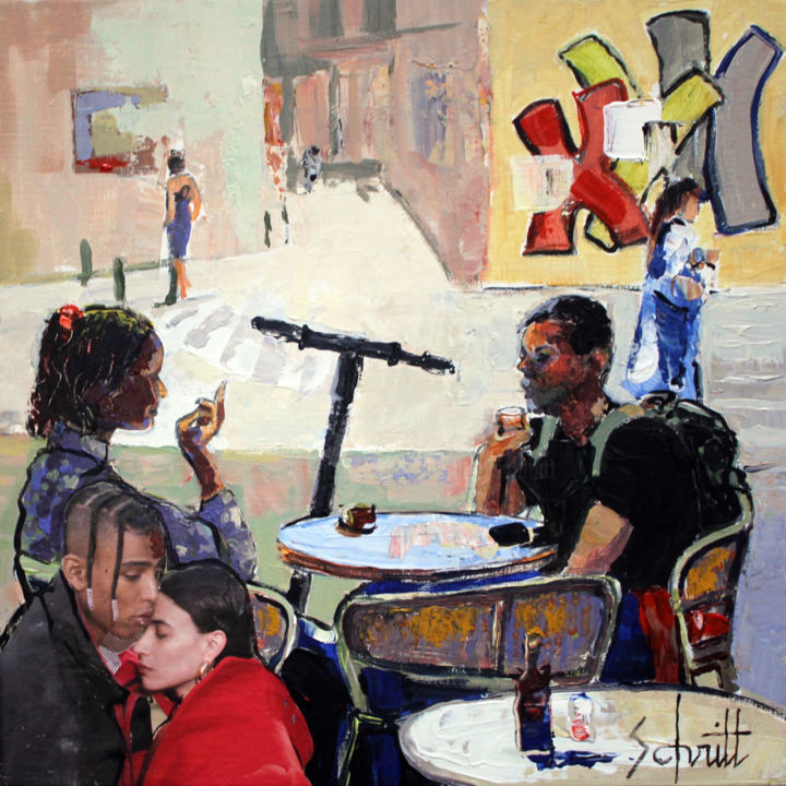 CAFÉ XVII - Painting,  11.8x11.8 in, ©2019 by Jean-Paul Schmitt -                                                                                                                                                                          Figurative, figurative-594, Interiors