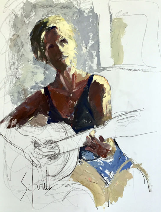Anne à la guitare - Drawing,  25.6x19.7 in, ©2018 by Jean-Paul Schmitt -                                                                                                                                                                          Figurative, figurative-594, Music