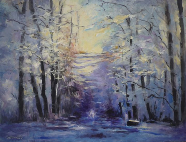 L'hiver au bois - Painting,  19.7x24 in, ©2013 by Jean-Paul Schmitt -