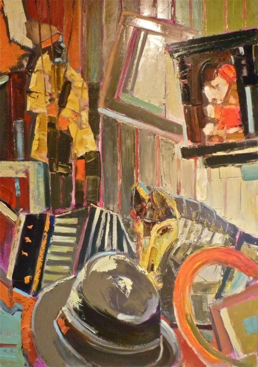 Brocante - Painting,  36.2x25.6 in, ©2013 by Jean-Paul Schmitt -