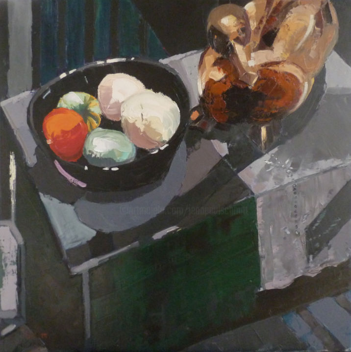 Nature morte au cormoran - Peinture,  31,5x31,5 in, ©2014 par Jean-Paul Schmitt -