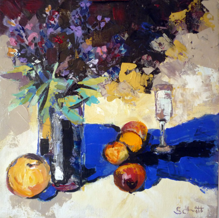 Brunelles, primevères et fruits - Painting,  11.8x11.8 in, ©2015 by Jean-Paul Schmitt -