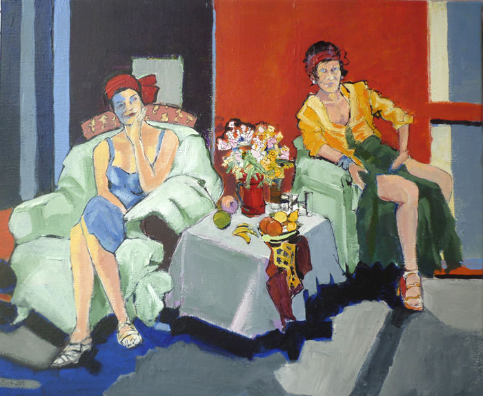 Deux femmes - Painting,  19.7x24 in, ©2015 by Jean-Paul Schmitt -