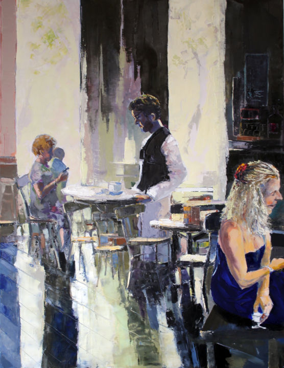 INTÉRIEUR CAFÉ II - Painting,  45.7x35 in, ©2017 by Jean-Paul Schmitt -                                                              Interiors