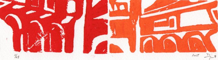 Composition Art Firenze - Printmaking,  2x8.3 in, ©2015 by Jean-Philippe Degraeve -                                                                                                                                                                                                                                              Florence, Firenze, Italie, Linogravure, Encre