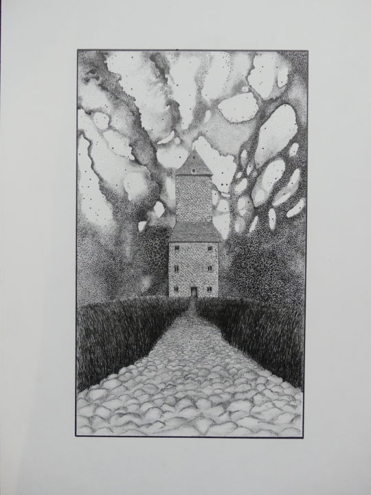 Ailleurs... - Drawing,  16.5x11.8x0.4 in, ©2020 by Jeffos -                                                                                                                                                                          Impressionism, impressionism-603, Landscape