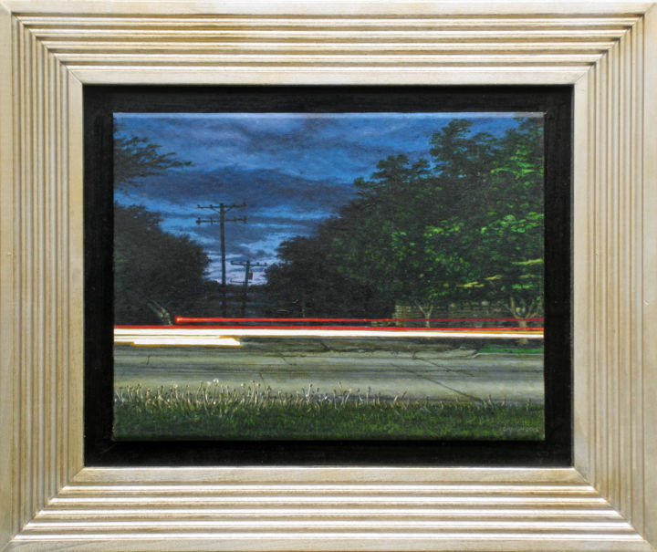 """Painting titled """"Traffic on ZehnteSt…"""" by Jeff Cornish, Original Art, Oil Mounted on Stretcher frame"""