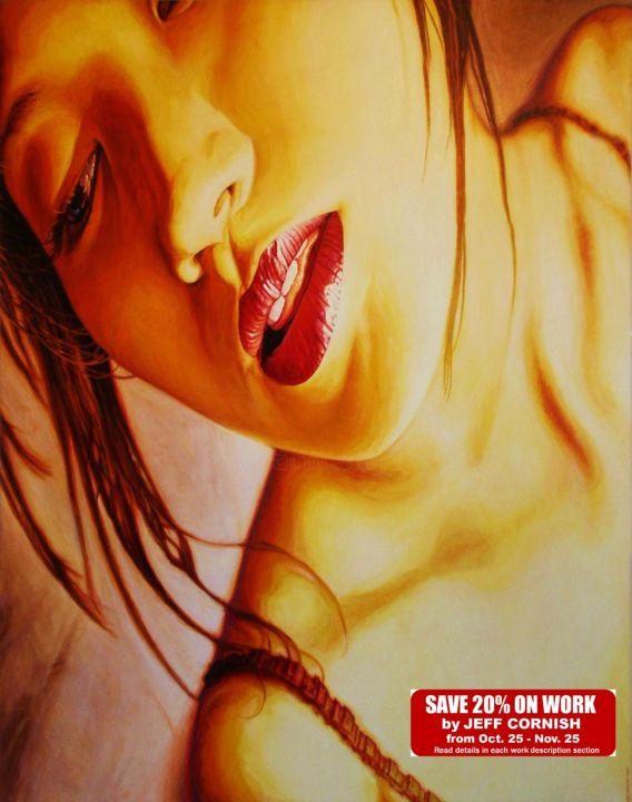 Akira's Dream - Painting,  62x46.5x2 in ©2008 by Jeff Cornish -                                                                                    Expressionism, Realism, Surrealism, Canvas, Women, Jananese girl, face, sensual, golds, oil painting, erotic, sexy, hallucinatory, buying, discount priced, noir lighting, dream state, distorted, earth tones, large works, pop art faces, erotic art