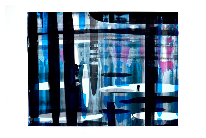 seri-abst-19 - Printmaking,  28.7x43.3 in, ©2015 by Jeff -                                                                                                                                                                                                                                                                                                                                                                                                                                                      Abstract, abstract-570, Abstract Art, sérigraphie, abstrait, couleur, mélange, racle, lumière