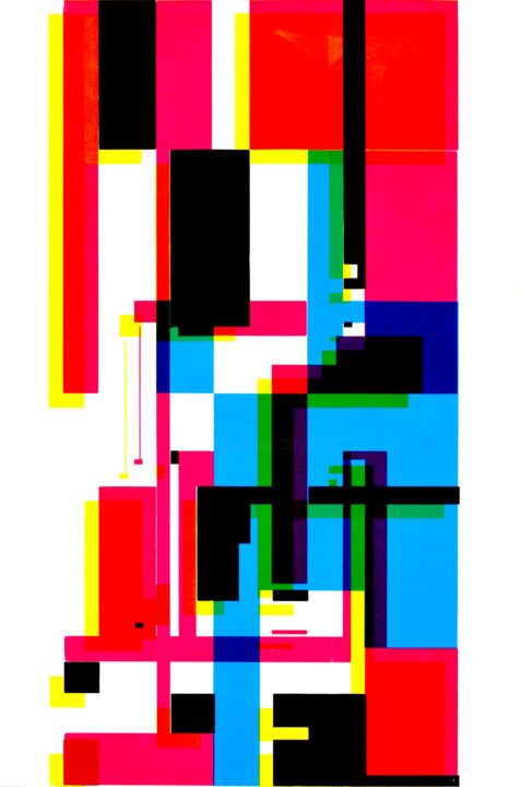 séri-géo-5 - Printmaking,  43.3x28.7 in, ©2018 by Jeff -                                                                                                                                                                                                                                                                                                                                                                                                          Abstract, abstract-570, Abstract Art, sérigraphie, géométrie, trame égyptienne, couleur, superposition