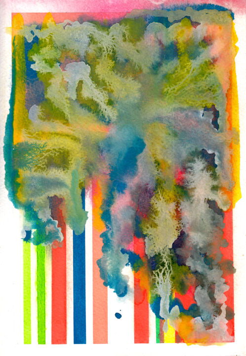 eau colorée 1 - Painting,  10.2x7.1 in, ©2020 by Jeff -                                                                                                                                                                                                                                                                                                                                                                                                                                                      Abstract, abstract-570, Abstract Art, couleur, nuage, lignes, eau, éclairs, arbres