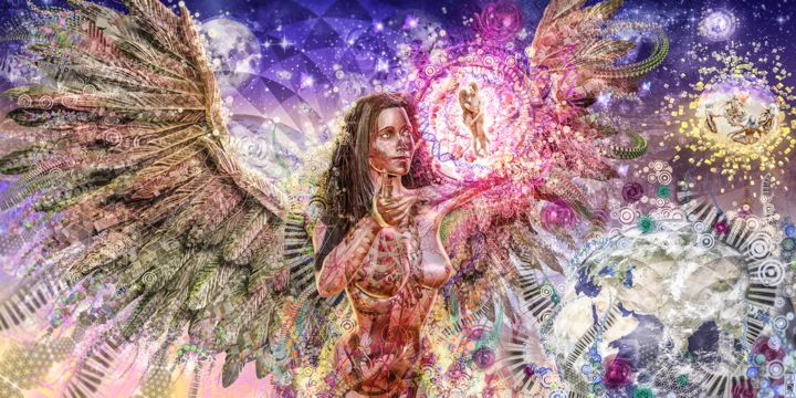 Divines Guardians of Love - Digital Arts,  29.5x59.1 in, ©2015 by Jeff Drawbot -                                                                                                                                                                                                                                                                                                                                                                                                                                                                                                                                                                                                                                                                                                                                                                                                                                                                                                                                                                                                                                                                                                  Illustration, illustration-600, Metal, Paper, Plastic, Fabric, Canvas, Love / Romance, Angels, Body, Outer Space, Women, Love, visionnaire, psychedelic, meditation, esprit, divinité, ange, amour, visionary art, psychedelic art, Virtual World