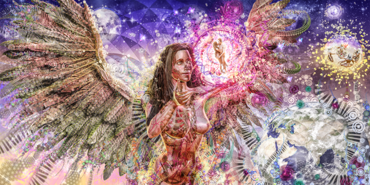 Divines Guardians of Love - Digital Arts,  150x75 cm ©2015 by Jeff Drawbot -                                                                                                                                                                                    Illustration, Metal, Paper, Plastic, Fabric, Canvas, Love / Romance, Angels, Body, Outer Space, Women, Spirituality, Travel, Love, visionnaire, psychedelic, meditation, esprit, divinité, ange, amour, visionary art, psychedelic art