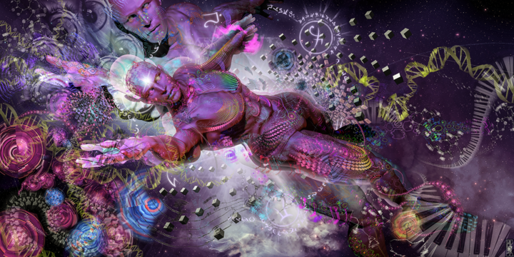 Flying Man - Digital Arts,  120x60 cm ©2017 by Jeff Drawbot -                                                                                            Illustration, Angels, Outer Space, Fantasy, Spirituality, Travel, visionnaire, psychedelic, esprit, voyage astral, cosmos, meditation, visionary art, psychedelic art