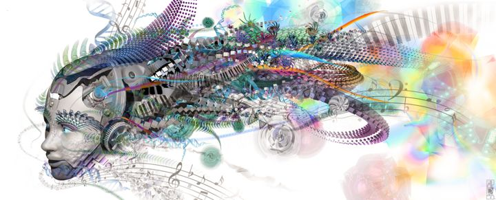 Android Dream - Digital Arts,  18.9x47.2 in, ©2014 by Jeff Drawbot -                                                                                                                                                                                                                                                                                                                                                                                                                                                                                                                                                                                                                                      Illustration, illustration-600, Abstract Art, Fantasy, Patterns, Science, Science-fiction, visionnaire, psychedelic, cyborg, reves, visionary art, psychedelic art
