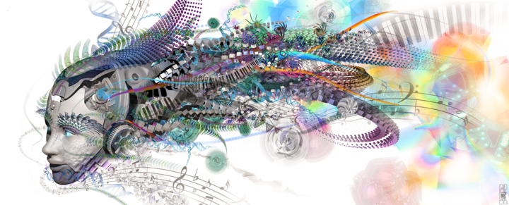 Android Dream - Digital Arts,  120x48 cm ©2014 by Jeff Drawbot -                                                                                                                                Illustration, Abstract Art, Fantasy, Patterns, Science, Science-fiction, Science & Technology, Spirituality, Technology, visionnaire, psychedelic, cyborg, reves, visionary art, psychedelic art