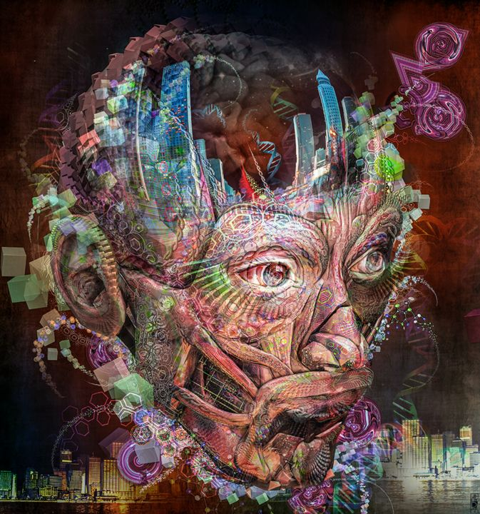 A City man portraits - Digital Arts,  27.6x25.2 in, ©2016 by Jeff Drawbot -                                                                                                                                                                                                                                                                                                                                                                                                                                                                                                                                                                                                                                                                                                                                                                                                                      Illustration, illustration-600, Outer Space, Fantasy, Men, Portraits, Spirituality, psychedelique, visionnaire, reves, magic, esprit, meditation, cosmos, cosmic, visionary art, psychedelic art